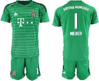 Mens 19-20 Soccer Bayern Munchen #1 Neuer Green Stripe Goalkeeper Short Sleeve Suit Jersey