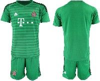 Mens 19-20 Soccer Bayern Munchen ( Blank ) Green Stripe Goalkeeper Short Sleeve Suit Jersey