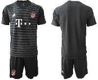 Mens 19-20 Soccer Bayern Munchen ( Blank ) Black Stripe Goalkeeper Short Sleeve Suit Jersey