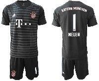 Mens 19-20 Soccer Bayern Munchen #1 Neuer Black Stripe Goalkeeper Short Sleeve Suit Jersey