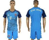 Mens 19-20 Soccer Bayern Munchen ( Blank ) Lake Blue Goalkeeper Short Sleeve Suit Jersey