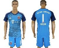Mens 19-20 Soccer Bayern Munchen #1 Neuer Lake Blue Goalkeeper Short Sleeve Suit Jersey