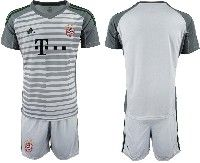 Mens 19-20 Soccer Bayern Munchen ( Blank ) Gray Goalkeeper Short Sleeve Suit Jersey