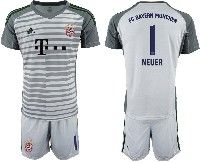 Mens 19-20 Soccer Bayern Munchen #1 Neuer Gray Goalkeeper Short Sleeve Suit Jersey
