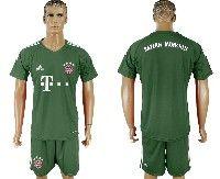 Mens 19-20 Soccer Bayern Munchen ( Blank ) Green Goalkeeper Short Sleeve Suit Jersey