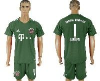 Mens 19-20 Soccer Bayern Munchen #1 Neuer Green Goalkeeper Short Sleeve Suit Jersey