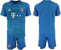 Mens 19-20 Soccer Bayern Munchen ( Blank ) Blue Goalkeeper Short Sleeve Suit Jersey