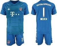 Mens 19-20 Soccer Bayern Munchen #1 Neuer Blue Goalkeeper Short Sleeve Suit Jersey