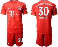 Mens 19-20 Soccer Bayern Munchen #30 Dorsch Red Home Short Sleeve Suit Jersey