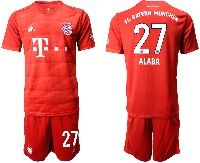 Mens 19-20 Soccer Bayern Munchen #27 Alaba Red Home Short Sleeve Suit Jersey