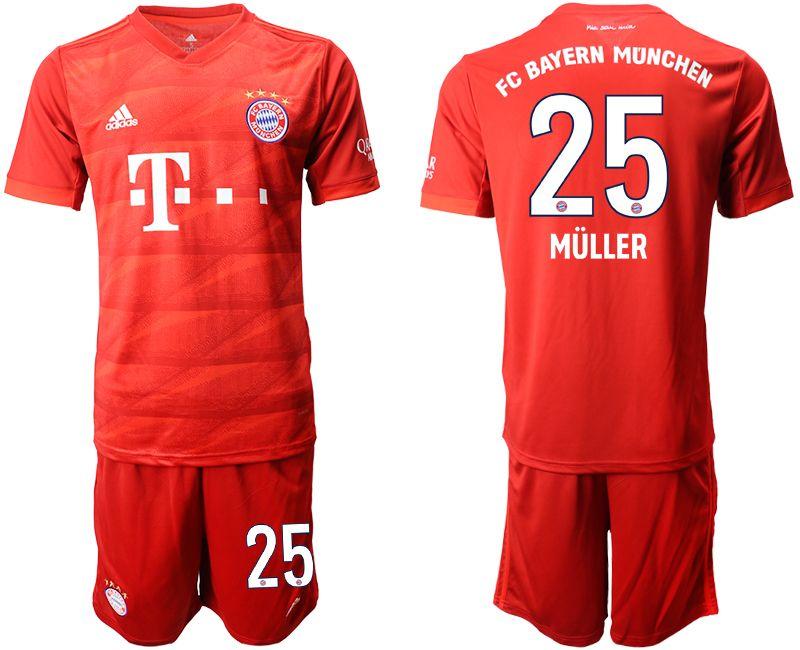 Mens 19-20 Soccer Bayern Munchen #25 Muller Red Home Short Sleeve Suit Jersey