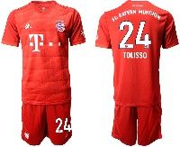 Mens 19-20 Soccer Bayern Munchen #24 Tolisso Red Home Short Sleeve Suit Jersey