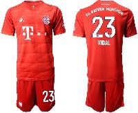 Mens 19-20 Soccer Bayern Munchen #23 Vidal Red Home Short Sleeve Suit Jersey