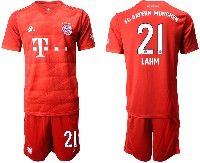 Mens 19-20 Soccer Bayern Munchen #21 Lahm Red Home Short Sleeve Suit Jersey