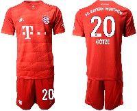 Mens 19-20 Soccer Bayern Munchen #20 Gotze Red Home Short Sleeve Suit Jersey