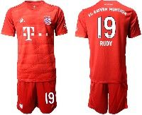 Mens 19-20 Soccer Bayern Munchen #19 Rudy Red Home Short Sleeve Suit Jersey