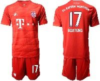 Mens 19-20 Soccer Bayern Munchen #17 Boateng Red Home Short Sleeve Suit Jersey