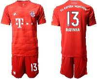 Mens 19-20 Soccer Bayern Munchen #13 Rafinha Red Home Short Sleeve Suit Jersey