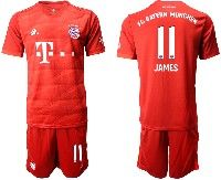 Mens 19-20 Soccer Bayern Munchen #11 James Red Home Short Sleeve Suit Jersey