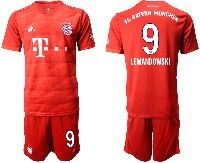 Mens 19-20 Soccer Bayern Munchen #9 Lewandowski Red Home Short Sleeve Suit Jersey