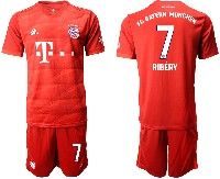 Mens 19-20 Soccer Bayern Munchen #7 Ribery Red Home Short Sleeve Suit Jersey