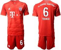 Mens 19-20 Soccer Bayern Munchen #6 Thiago Red Home Short Sleeve Suit Jersey