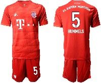 Mens 19-20 Soccer Bayern Munchen #5 Hummels Red Home Short Sleeve Suit Jersey