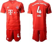 Mens 19-20 Soccer Bayern Munchen #4 Sule Red Home Short Sleeve Suit Jersey