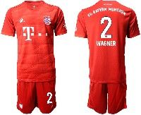 Mens 19-20 Soccer Bayern Munchen #2 Wagner Red Home Short Sleeve Suit Jersey