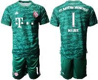 Mens 19-20 Soccer Bayern Munchen #1 Neuer Dark Green Goalkeeper Short Sleeve Suit Jersey