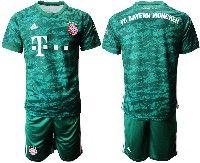 Mens 19-20 Soccer Bayern Munchen ( Blank ) Dark Green Goalkeeper Short Sleeve Suit Jersey