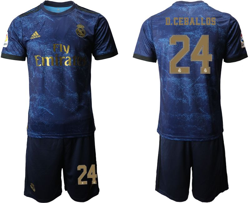 Mens 19-20 Soccer Real Madrid Club #24 D.ceballos Blue Second Away Short Sleeve Suit Jersey