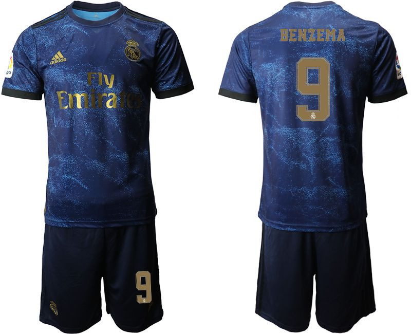 Mens 19-20 Soccer Real Madrid Club #9 Benzema Blue Second Away Short Sleeve Suit Jersey