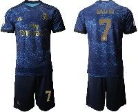 Mens 19-20 Soccer Real Madrid Club #7 Hazard Blue Second Away Short Sleeve Suit Jersey