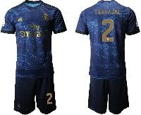 Mens 19-20 Soccer Real Madrid Club #2 Carvajal Blue Second Away Short Sleeve Suit Jersey
