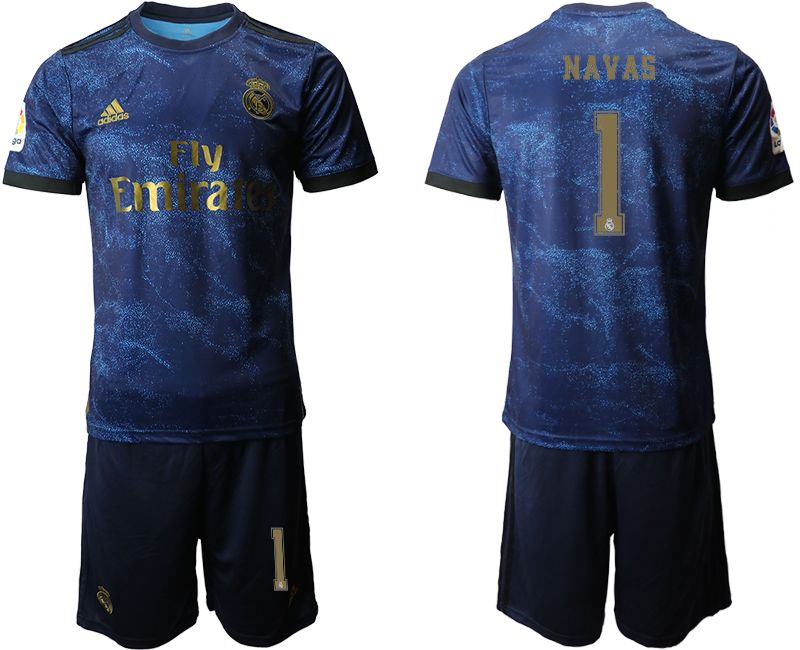 Mens 19-20 Soccer Real Madrid Club #1 Navas Blue Second Away Short Sleeve Suit Jersey