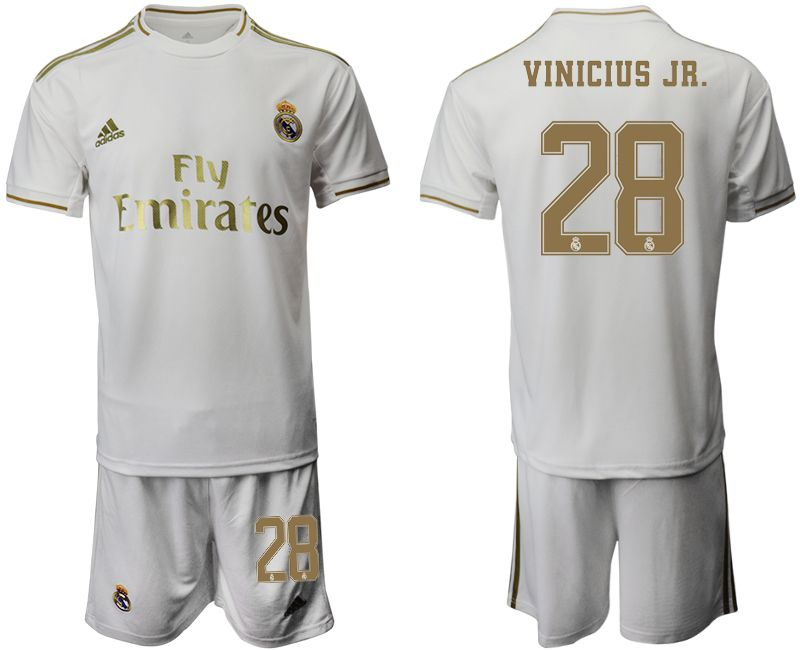 Mens 19-20 Soccer Real Madrid Club #28 Vinicius Jr. White Home Short Sleeve Suit Jersey