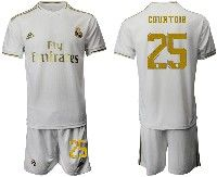 Mens 19-20 Soccer Real Madrid Club #25 Courtois White Home Short Sleeve Suit Jersey