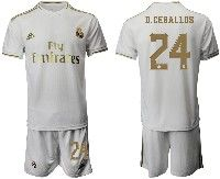 Mens 19-20 Soccer Real Madrid Club #24 D.ceballos White Home Short Sleeve Suit Jersey