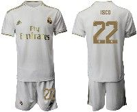 Mens 19-20 Soccer Real Madrid Club #22 Isco White Home Short Sleeve Suit Jersey