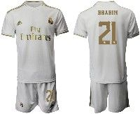 Mens 19-20 Soccer Real Madrid Club #21 Brahim White Home Short Sleeve Suit Jersey