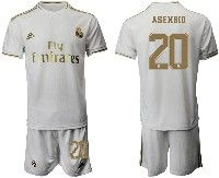 Mens 19-20 Soccer Real Madrid Club #20 Asensio White Home Short Sleeve Suit Jersey
