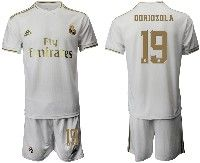 Mens 19-20 Soccer Real Madrid Club #19 Odriozola White Home Short Sleeve Suit Jersey