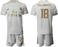 Mens 19-20 Soccer Real Madrid Club #18 M.llorente White Home Short Sleeve Suit Jersey