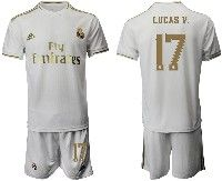 Mens 19-20 Soccer Real Madrid Club #17 Lucas V. White Home Short Sleeve Suit Jersey
