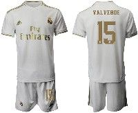 Mens 19-20 Soccer Real Madrid Club #15 Valverde White Home Short Sleeve Suit Jersey