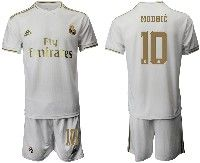 Mens 19-20 Soccer Real Madrid Club #10 Modric White Home Short Sleeve Suit Jersey