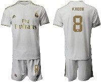 Mens 19-20 Soccer Real Madrid Club #8 Kroos White Home Short Sleeve Suit Jersey