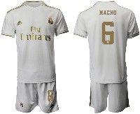Mens 19-20 Soccer Real Madrid Club #6 Nacho White Home Short Sleeve Suit Jersey