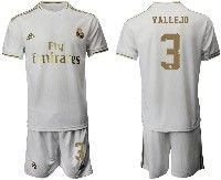 Mens 19-20 Soccer Real Madrid Club #3 Vallejo White Home Short Sleeve Suit Jersey